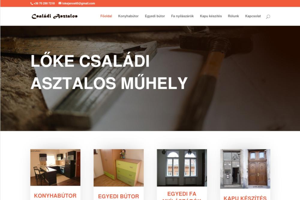 asztalos weboldal