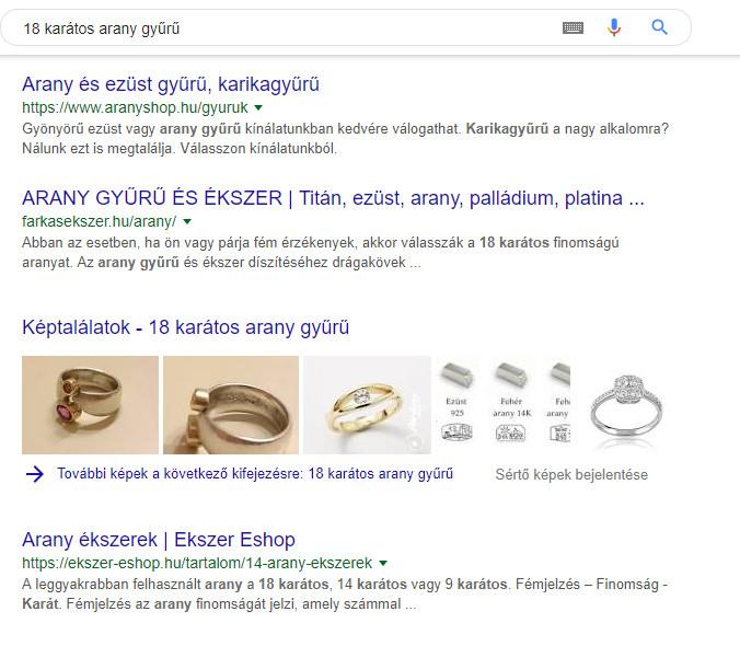 képes találatok Google találati listában