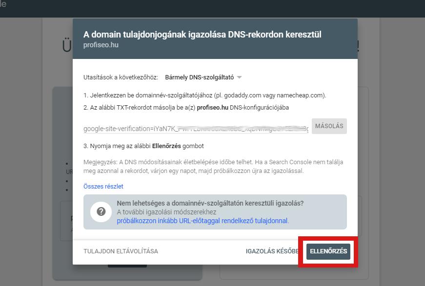 search console ellenőrzés