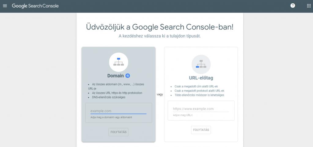 search console kezdőoldal új